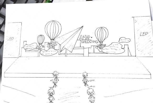 这几张婚礼场景的手绘图与效果图均出自sunny喜铺的产品研发团队,历